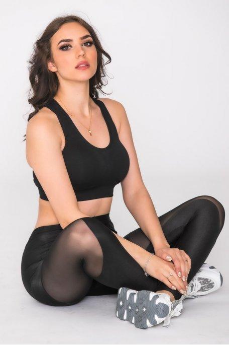 Legging de sport bi-matière noir