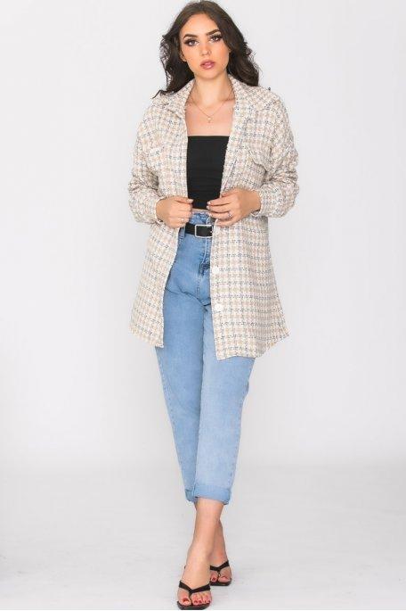 Surchemise en tweed à poches beige