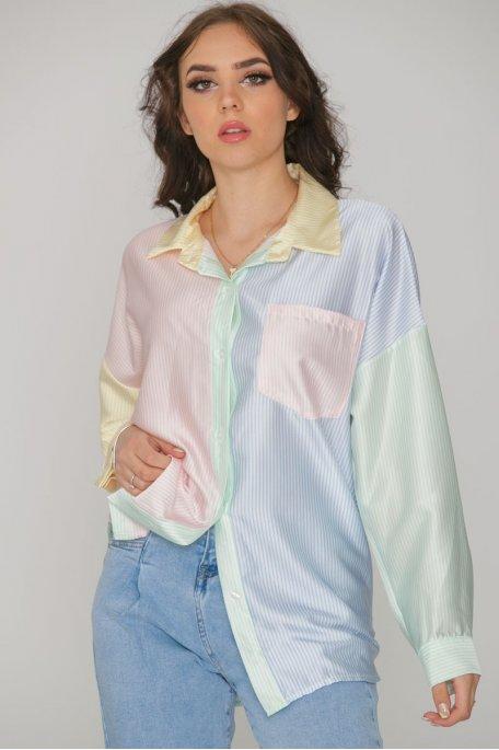 Chemise à rayures satinée multicolore