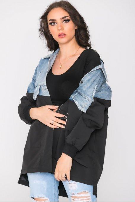 Veste bi-matière en jean brodée noir