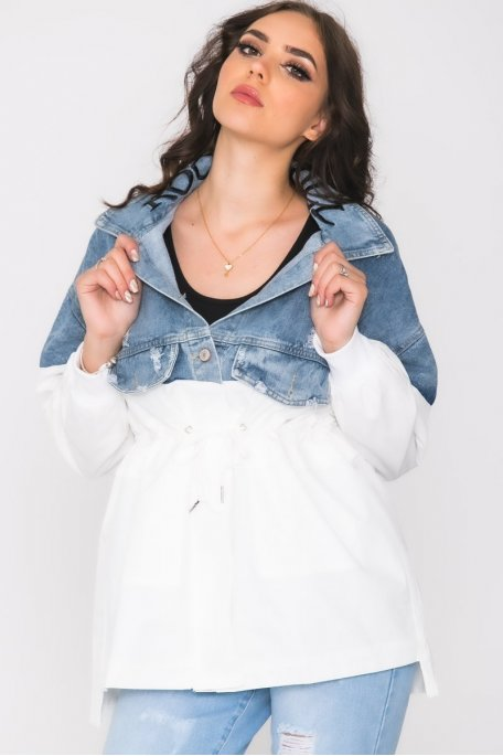 Veste bi-matière en jean brodée blanc
