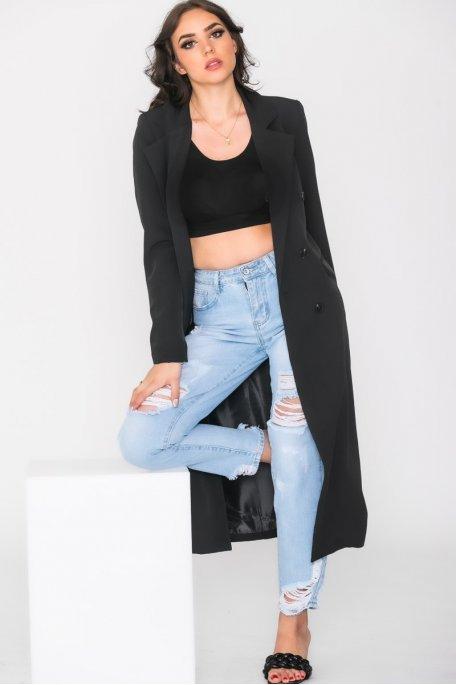 Veste longue double boutonnage noir