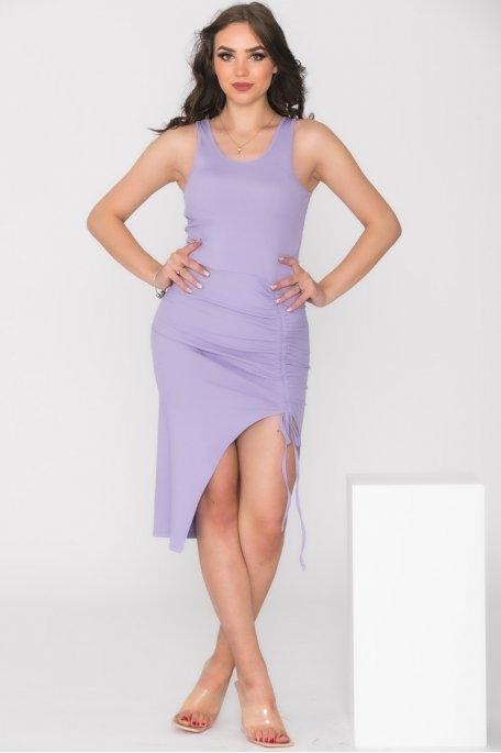 Robe débardeur froncée violet