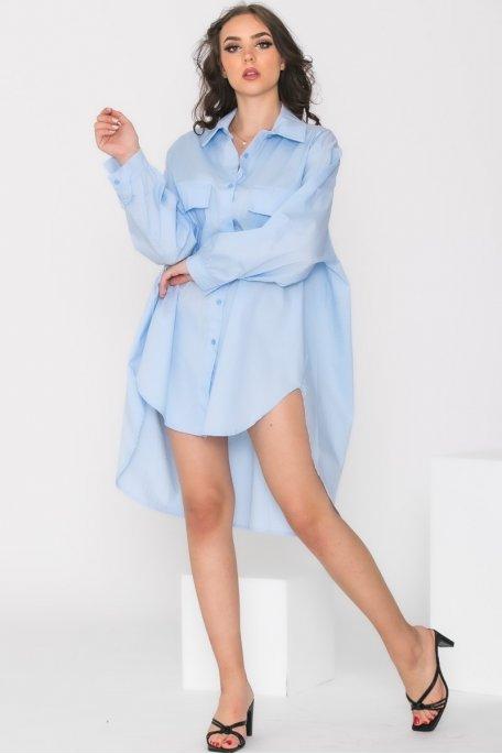 Robe chemise oversize bleu
