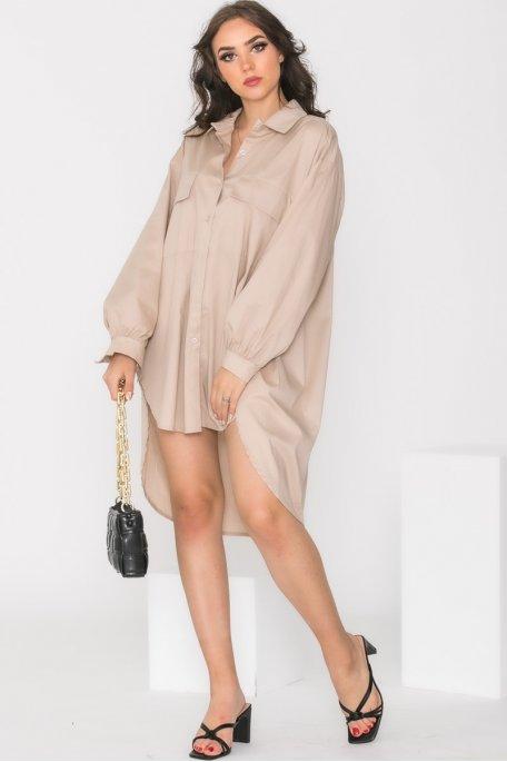 Robe chemise oversize beige