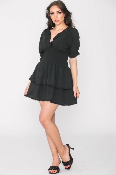 Robe froncée manches courtes noir