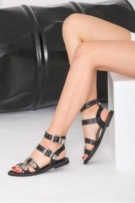 Sandales à boucle argentée noir