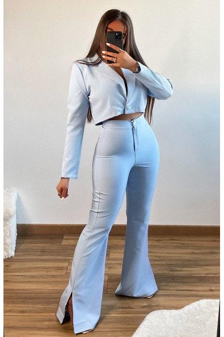 Ensemble tailleur pantalon fendu bleu