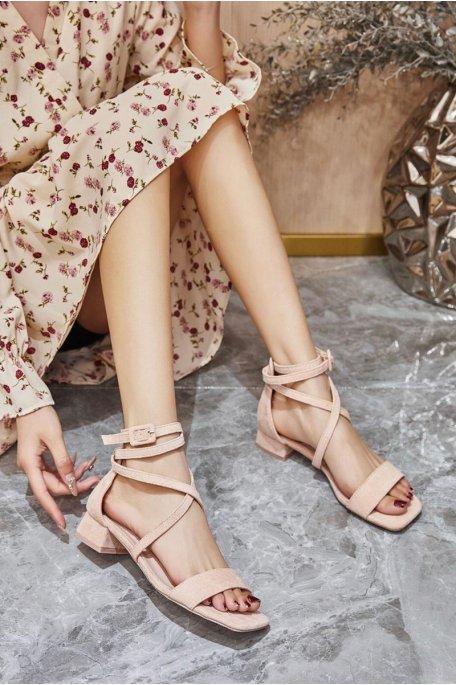 Sandales petits talons en velours beige