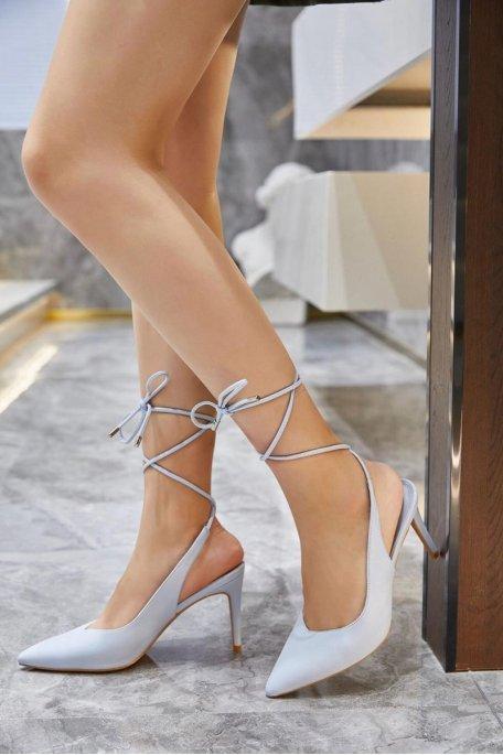 Escarpins pointus lacets bleu