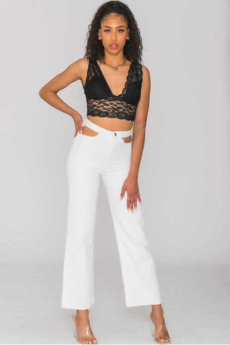 Jean taille haute flare ouvertures blanc