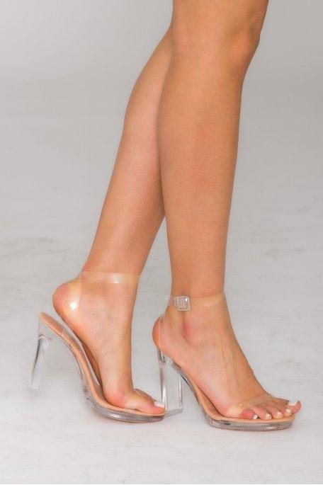 Sandales stripper transparentes nude