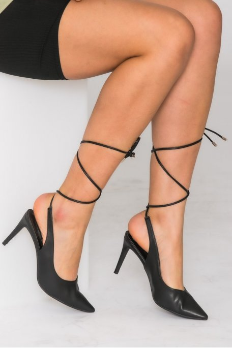 Escarpins pointus lacets noir