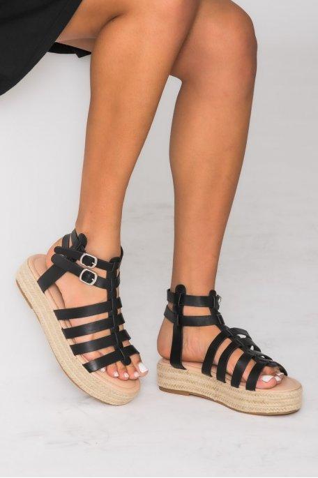 Sandales espadrilles à plateforme noir