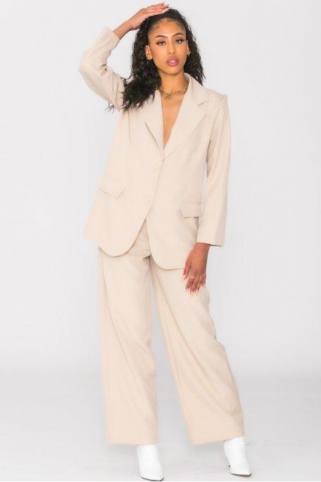 Ensemble veste pantalon tailleur oversize beige