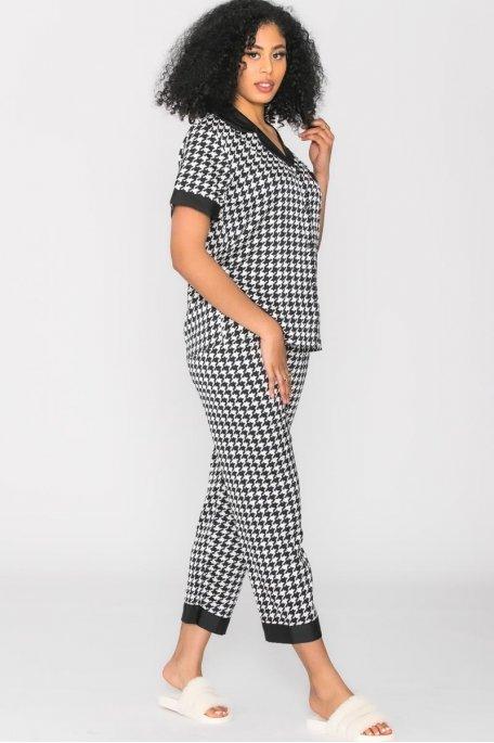 Ensemble pyjama pied-de-poule noir