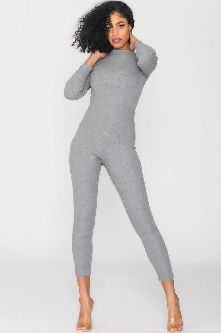 Combinaison côtelée zipée gris