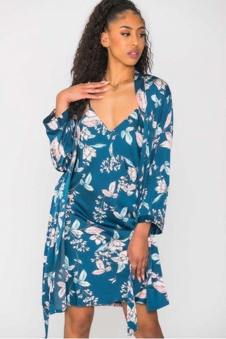 Ensemble nuisette kimono fleuri bleu
