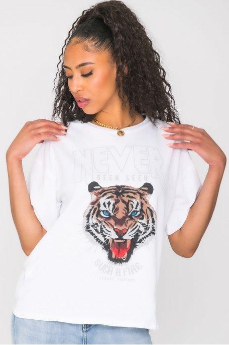 Tee-shirt imprimé tigre blanc