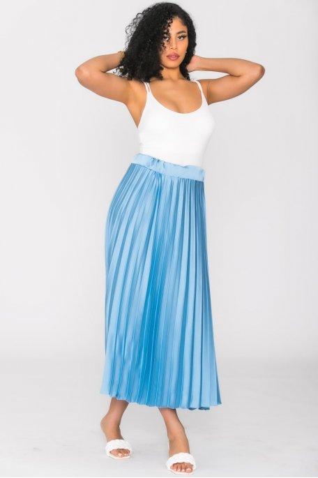 Jupe plissée satinée bleu