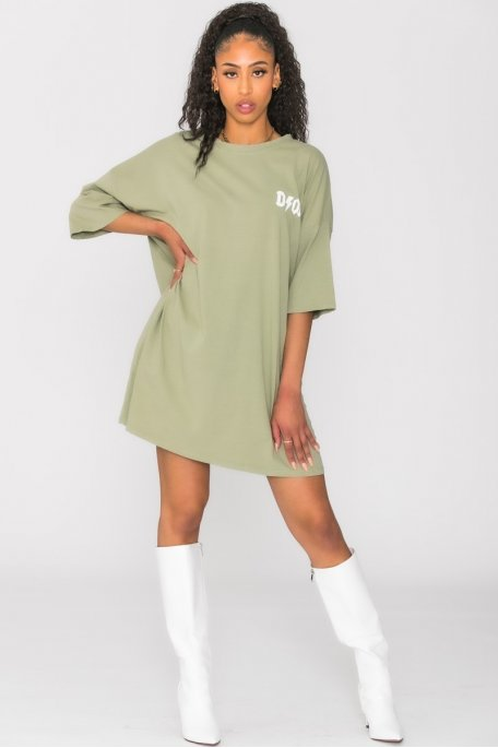 Robe tee-shirt ample inscription kaki