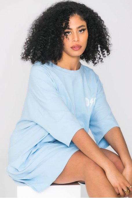 Robe tee-shirt ample inscription bleu