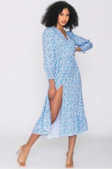 Robe longue fleurie boutons nacrés bleu