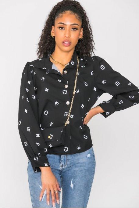Chemise à motif couronne pochette noir