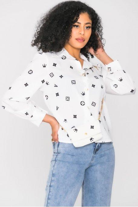 Chemise à motif couronne pochette blanc