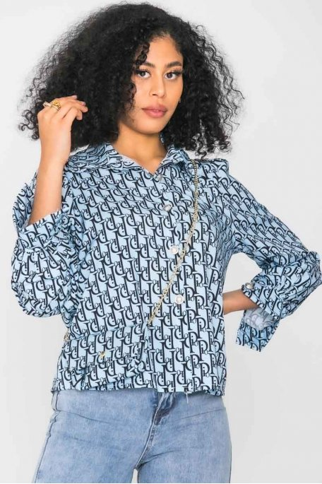 Chemise à motif pochette bleu