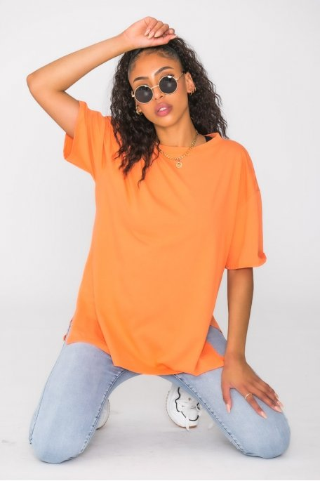 Tee-shirt fendu uni orange