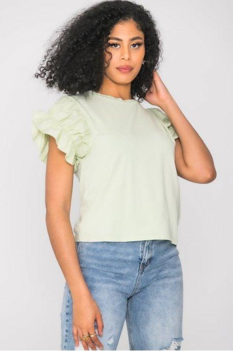 Tee-shirt manches froncées volant vert