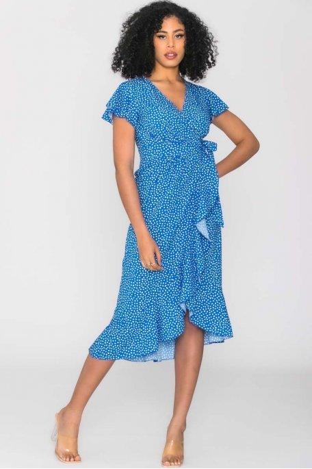 Robe longue portefeuille à motif bleu