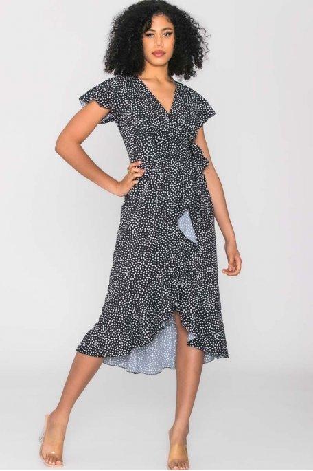 Robe longue portefeuille à motif noir