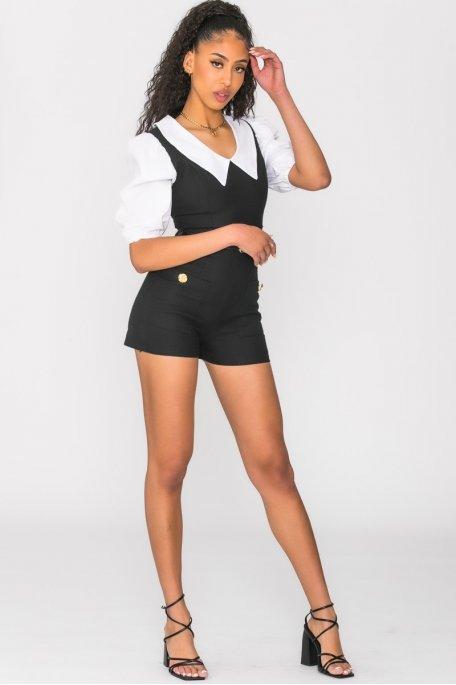 Combi-short bi-matière col chemise noir