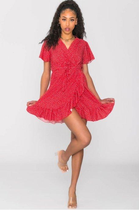 Robe portefeuille à motif rouge