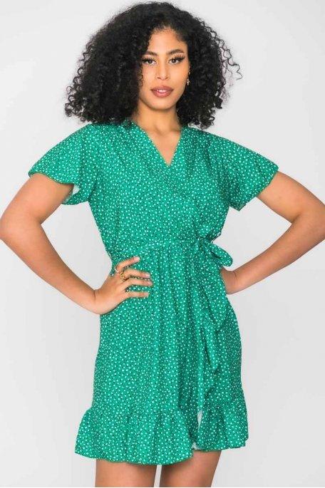 Robe portefeuille à motif vert