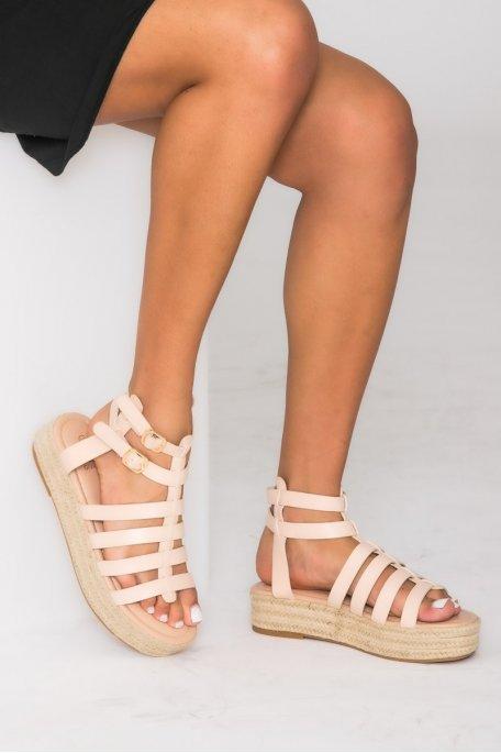 Sandales espadrilles à plateforme beige