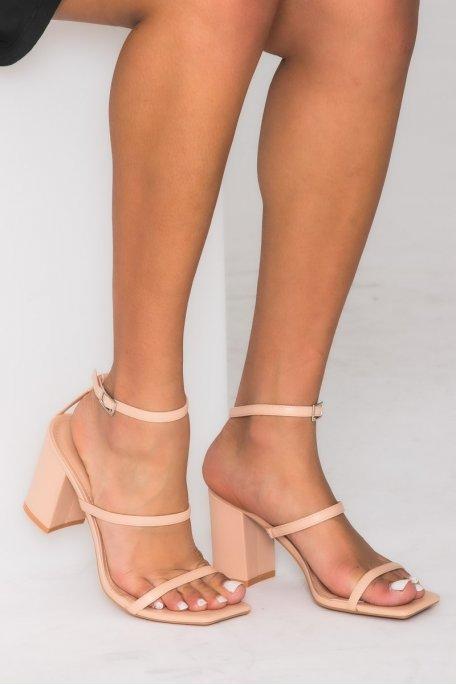 Sandales à talons carrés et brides fines beige
