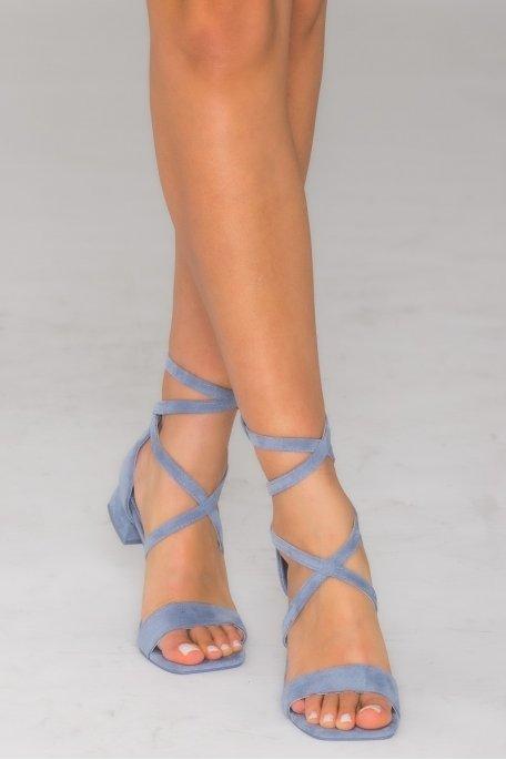 Sandales petits talons en velours bleu