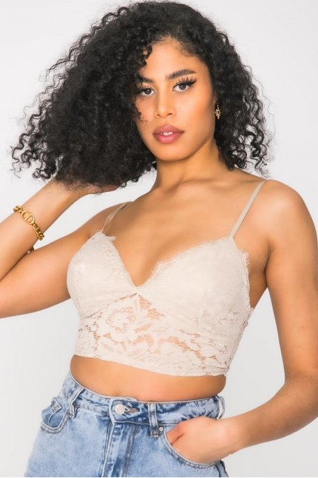 Crop top dentelle beige
