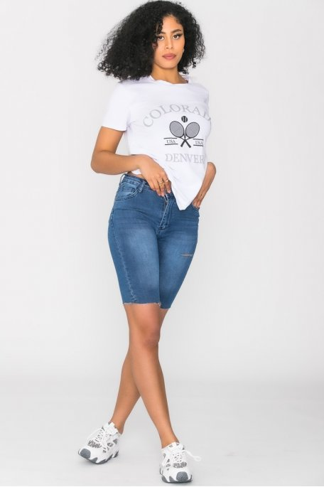 Short en jean cycliste bleu