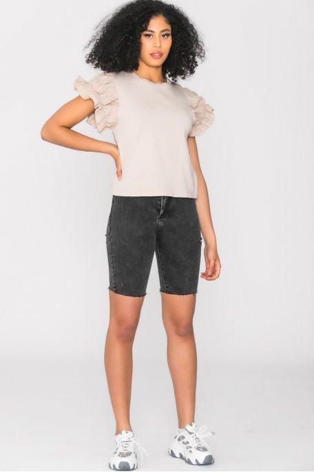 Short en jean cycliste noir