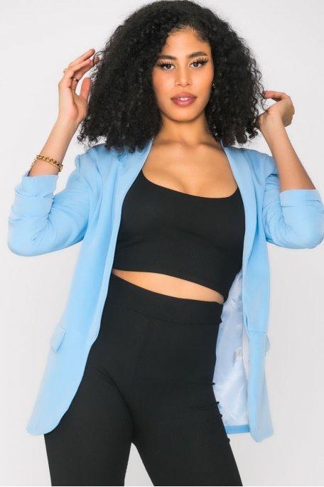 Veste blazer froncée bleu clair