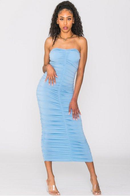 Robe moulante froncée bleu