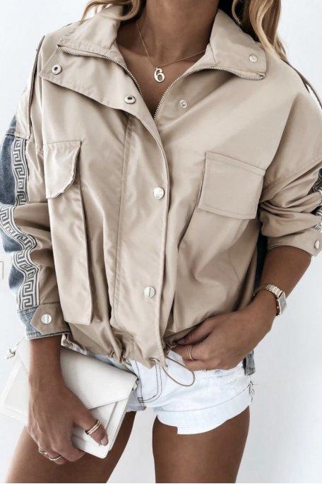 Veste bi-matière jean motif géométrique beige