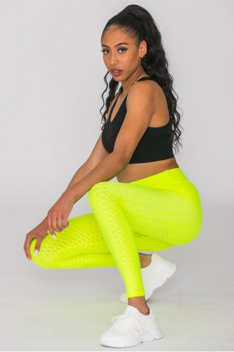 Legging sport alvéolé jaune fluo