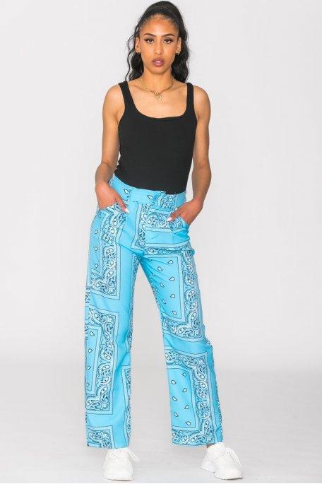 Pantalon motif bandana bleu
