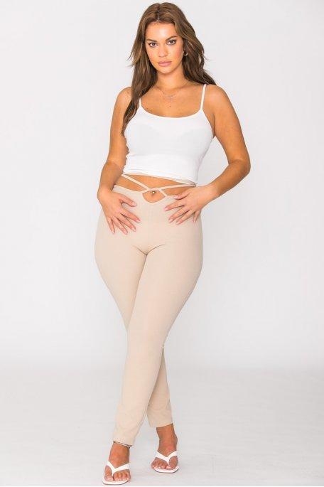 Pantalon lacé à la taille beige
