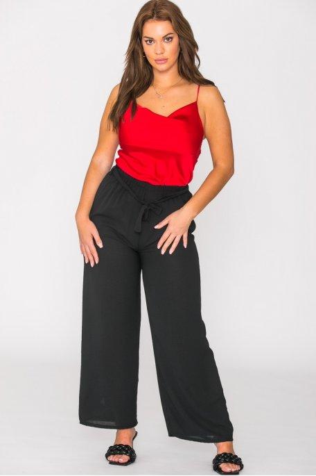 Pantalon ceinturé uni noir